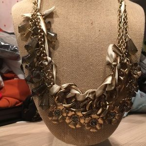 J Crew ribbon and metal necklace